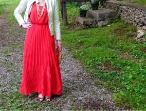 jcp, maxi dress, white leather jacket, ootd, fashion blog