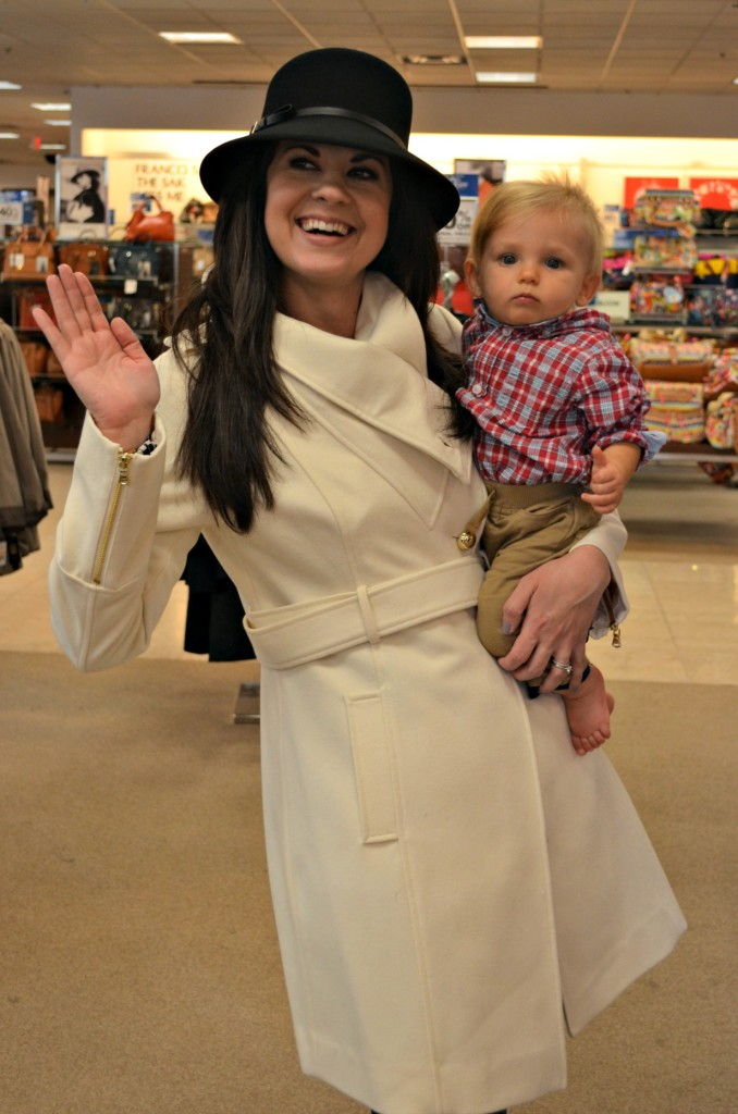 easy costume idea, halloween costume, kate middleton, how to dress up like kate middleton, west town mall, white coat, costume idea with kid