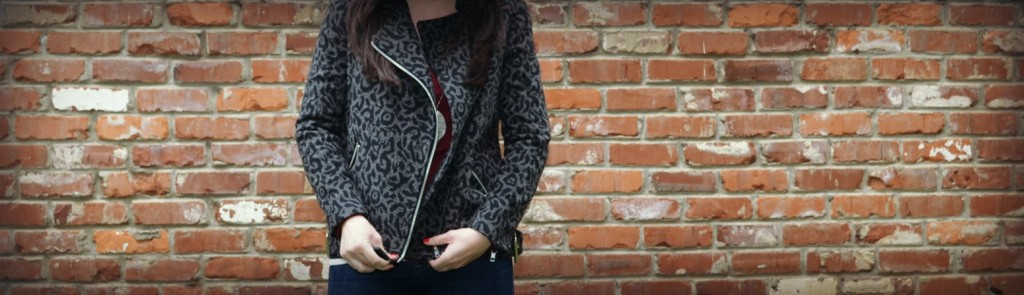 moto jacket, patterned moto jacket, gray and black moto jacket, outerwear, cute coat, cute jacket, cute outerwear, where to get a cute coat, leopard coat