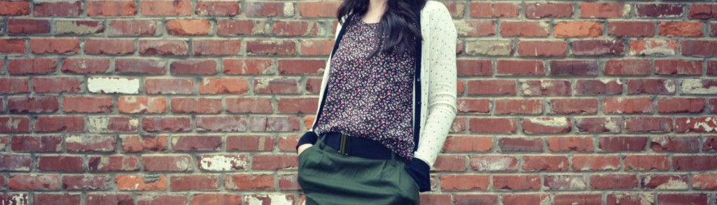 pattern mix, knoxville fashion, floral top, polka dot sweater, cardigan, tights, green skirt, wedge shoes, belts