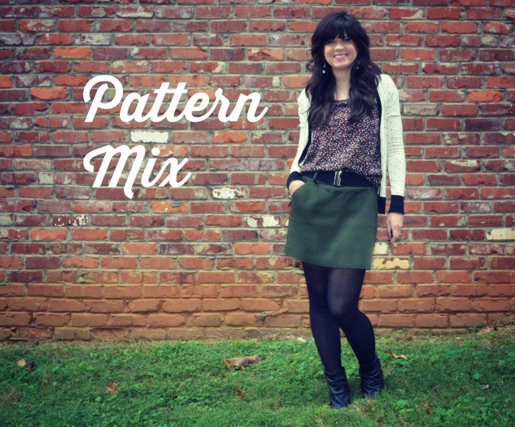 pattern mix, knoxville fashion, floral top, polka dot sweater, cardigan, tights, green skirt, wedge shoes, belts, oldnavy jewelry