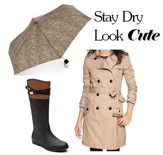 knoxville fashion, west town mall, tommy hilfiger, trench coat, rain boots, gap, jcpenney, jcp, leopard umbrella, cute rain boots, what to wear on a rainy day