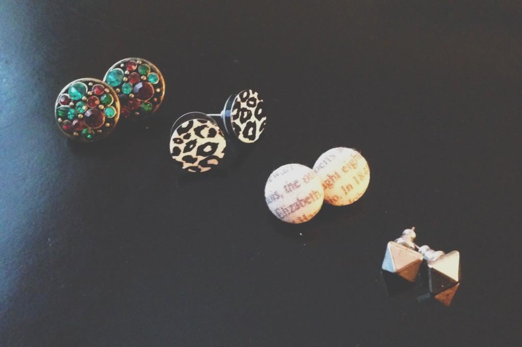 stud earrings, cute earrings, studs, earrings with words, earrings with a pattern, patterned earrings, jewel earrings