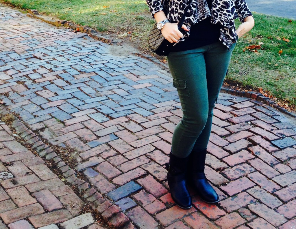 cargo pants, waterfall sweater, ootd, what to wear while shopping, asheville, what to wear with cargo pants, boots, small boots, black boots, leopard sweater, messanger bag