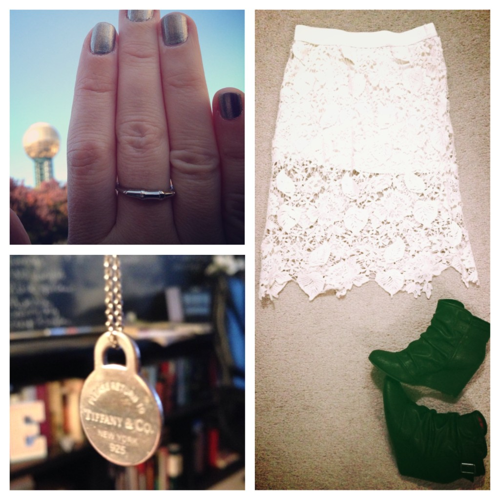 shoes, lace skirt, booties, silver ring, tiffany necklace, grandmother's ring, thankful