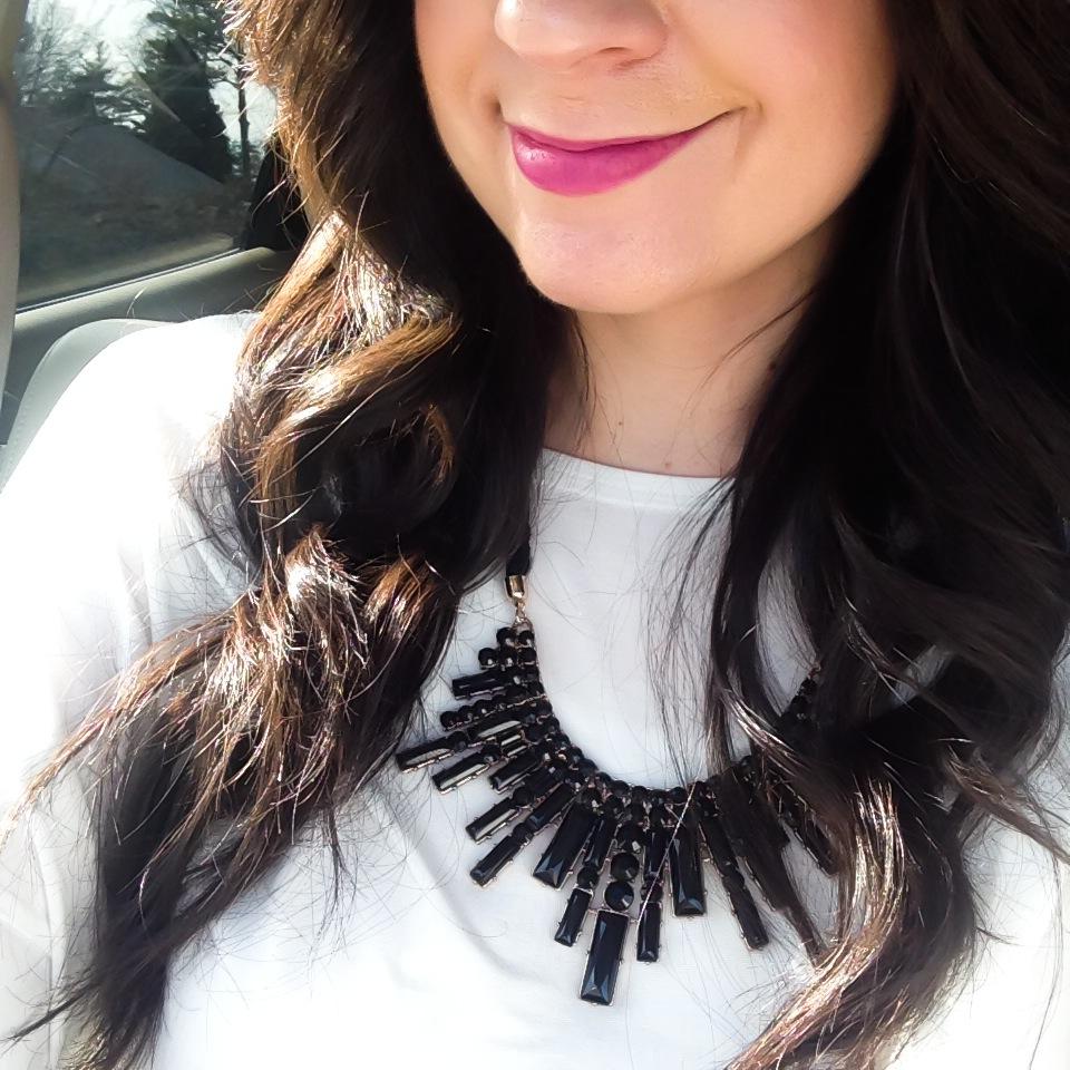 statement necklace, black and white, purple lips, purple lipstick, bold lip