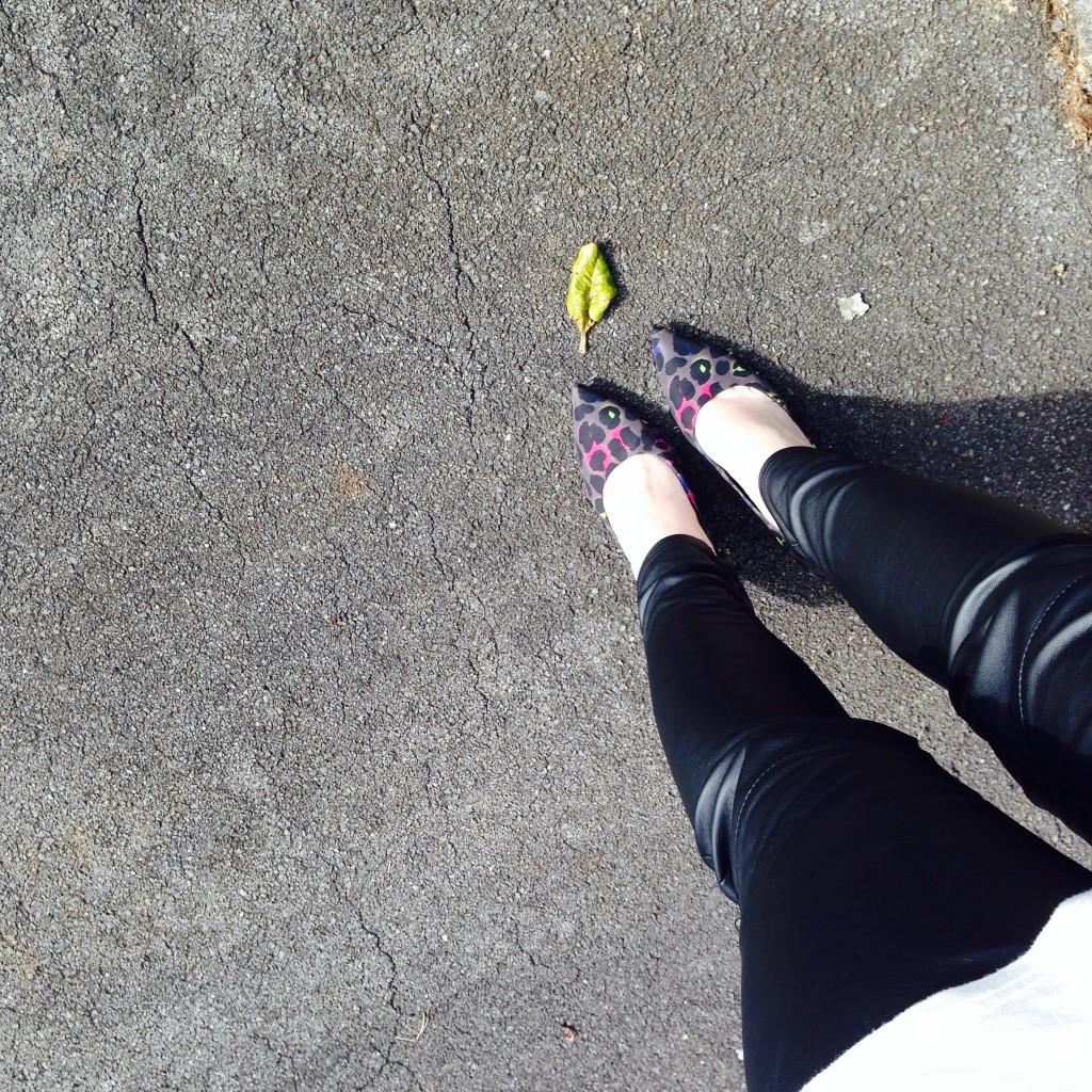 leather pants, leather leggings, michael kors, patterned pumps