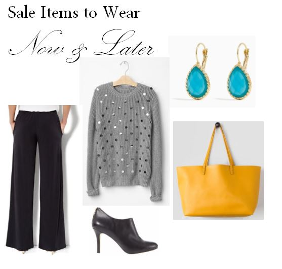 new york and company, gap, palazzo pants, sequin sweater, colored drop earrings, sweater, earrings, pants, leather booties, ann taylor, yellow tote, francesca's, bag, what to wear in the winter, wear now and later, clothes for winter and spring