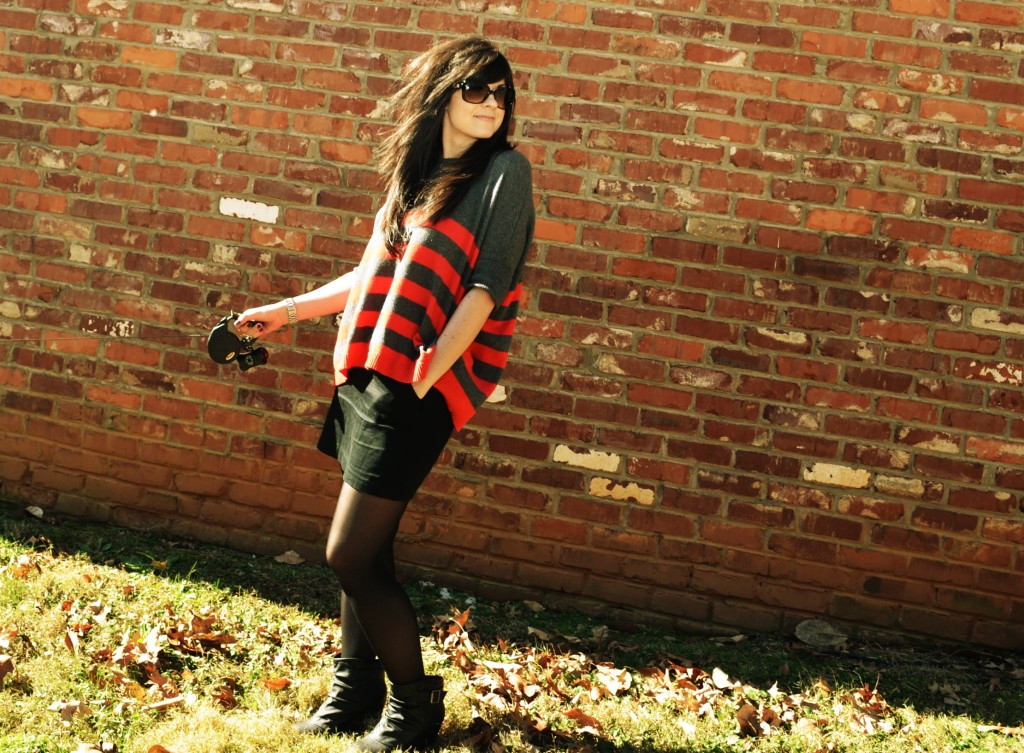 ootd, striped sweater, how to flatter your shape, what to wear with a big sweater, tights, black skirt, wedges