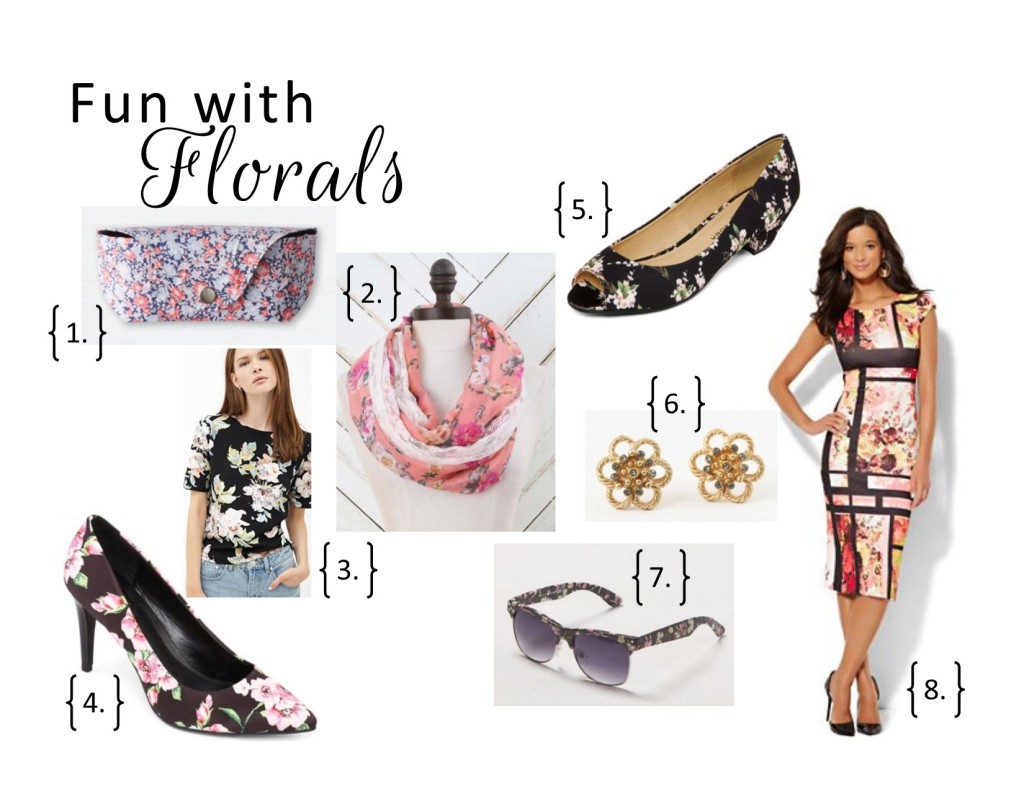 west town mall, floral print, floral, forever21, tops, patterned pumps, jcp, altar'd state, floral scarf, sunglasses, floral sunglasses, floral patterned flats, flower earrings, francesca's, new york and compnany, floral patterned dress