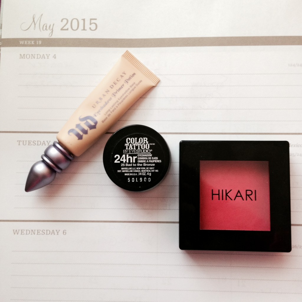 hikari cosmetics, blush, urban decay, eyeshadow primer, maybelline eyeshadow, beauty blog, beauty routine, spring makeup