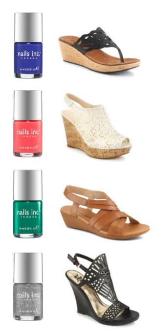 wedges, west town mall, nail polish, rack room shoes, sephora nail polish, pedicure ideas, open toe shoes, black wedges, tan wedges, white wedges