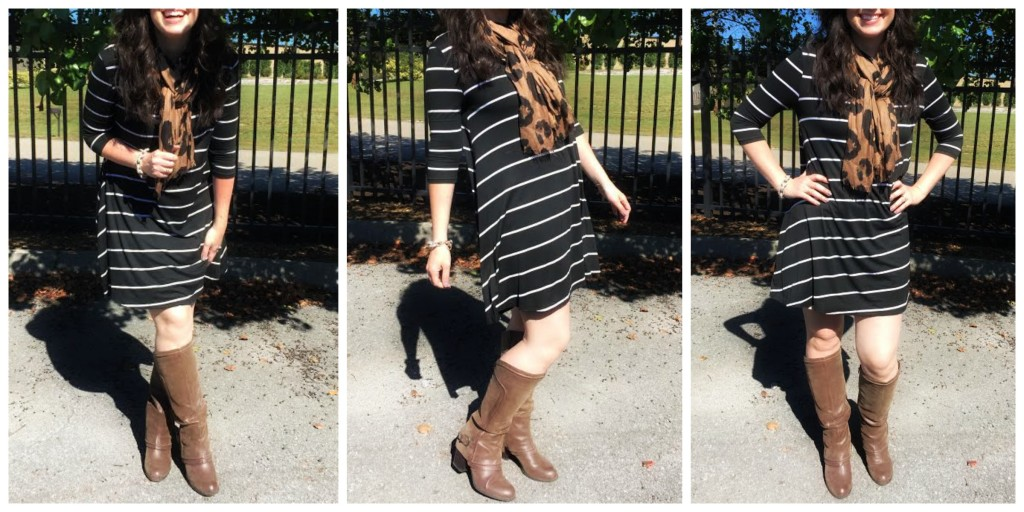 rue21, striped dress, how to style a striped dress, ootd, west town mall, knoxville fashion blogger, funny fashion blogger, fall style, fall fashion, boots, pattern mixing