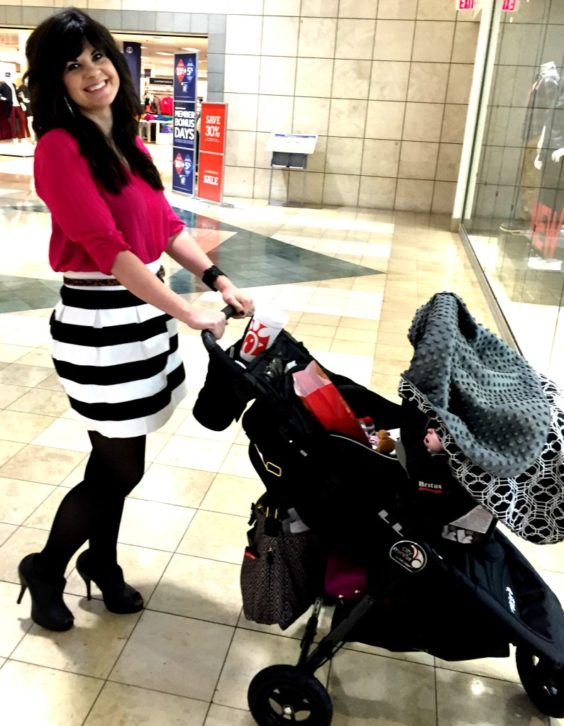 jcp, jcpenney, west town mall, black and white striped skirt, tights, a line skirt, pink blouse, breast cancer awareness month, october,