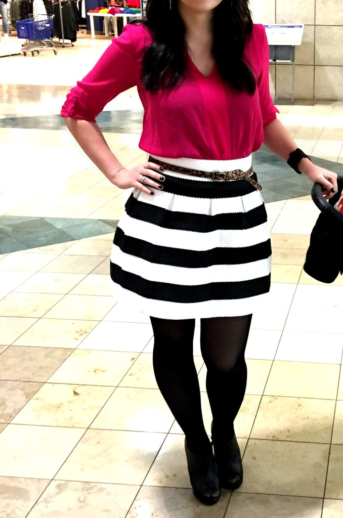 jcp, jcpenney, west town mall, black and white striped skirt, tights, a line skirt, pink blouse, breast cancer awareness month, october, ootd, fashion blogger, pattern mixing, black and white striped skirt, pink blouse, tights