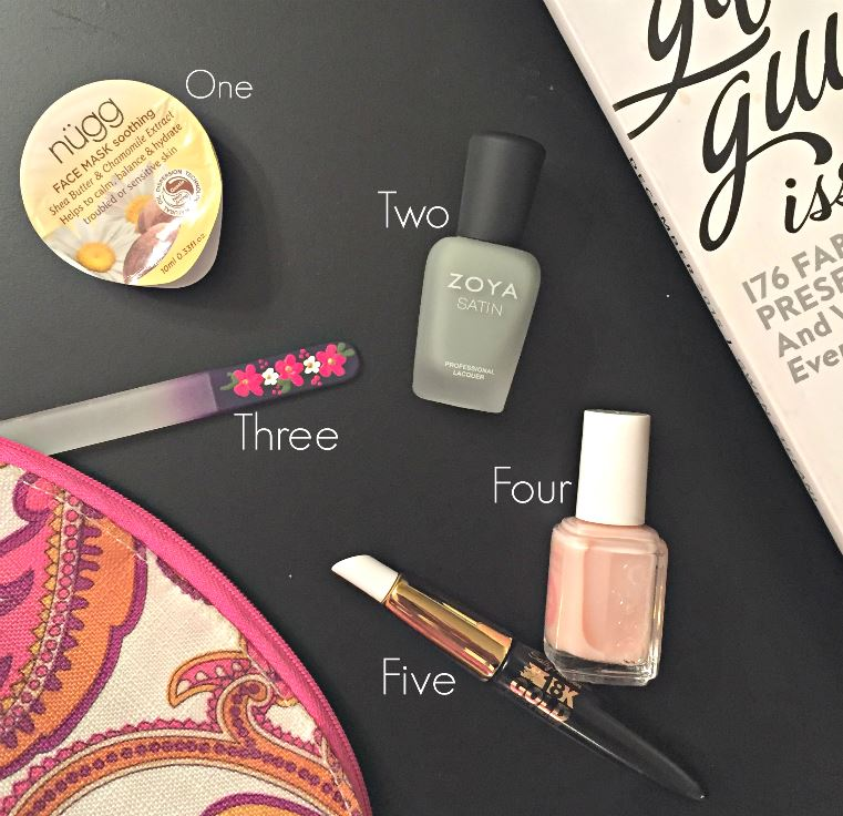 sally hansen 18k gold cuticle eraser, essie base coat, zoya nail polish, green nail polish, nugg face mask, crystal nail file, mori's luggage and gifts, at-home manicure, how to give yourself a manicure, west town mall, beauty blogger, knoxville beauty blogger