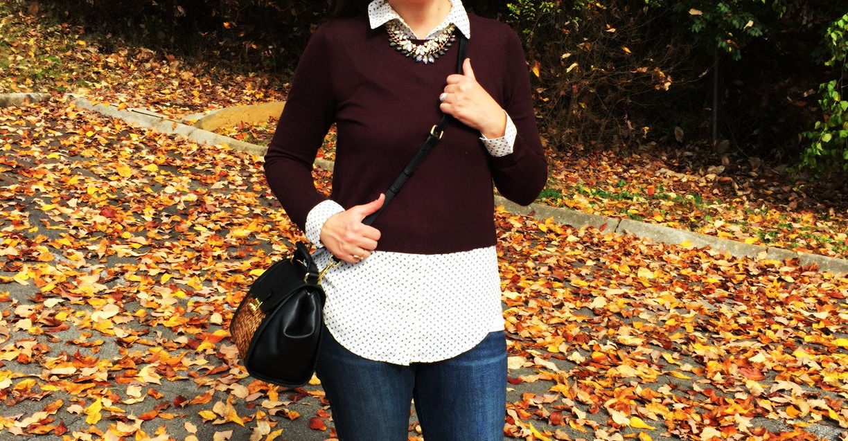 the loft, layered top, layered necklaces, vera bradley bag, fall fashion, fall style, fashion blogger, knoxville fashion blogger, fall ootd, old navy jeans, target leopard flats, skinny jeans, leopard flats