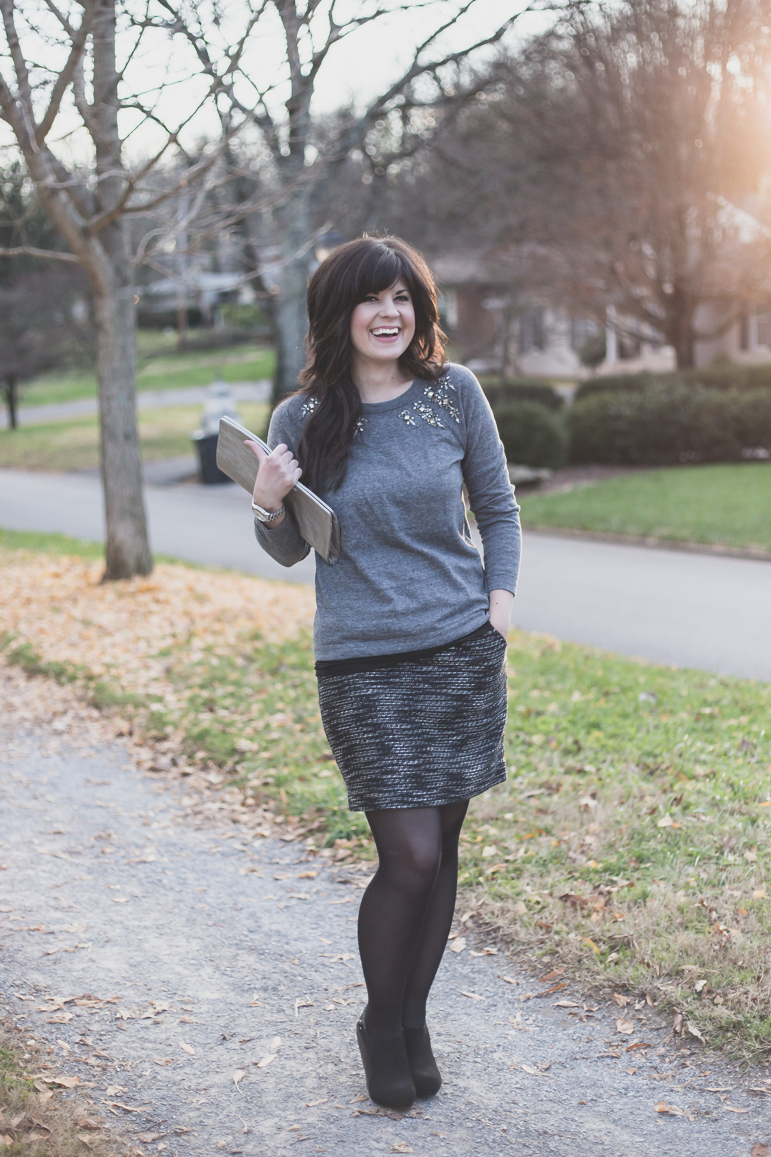 business casual, christmas party attire, what to wear to a business casual party, what to wear to a christmas party, knoxville fashion blogger, knoxville blogger, christmas party outfit, the limited, the loft, jeweled sweater
