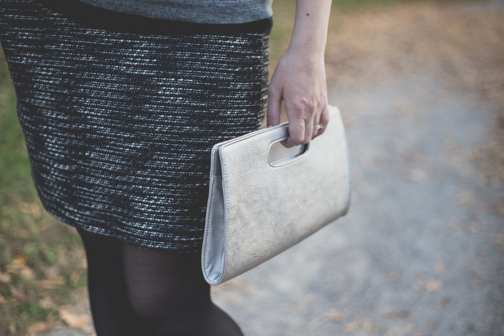 business casual, christmas party attire, what to wear to a business casual party, what to wear to a christmas party, knoxville fashion blogger, knoxville blogger, christmas party outfit, the limited, the loft, jeweled sweater, clutch, silver clutch, express