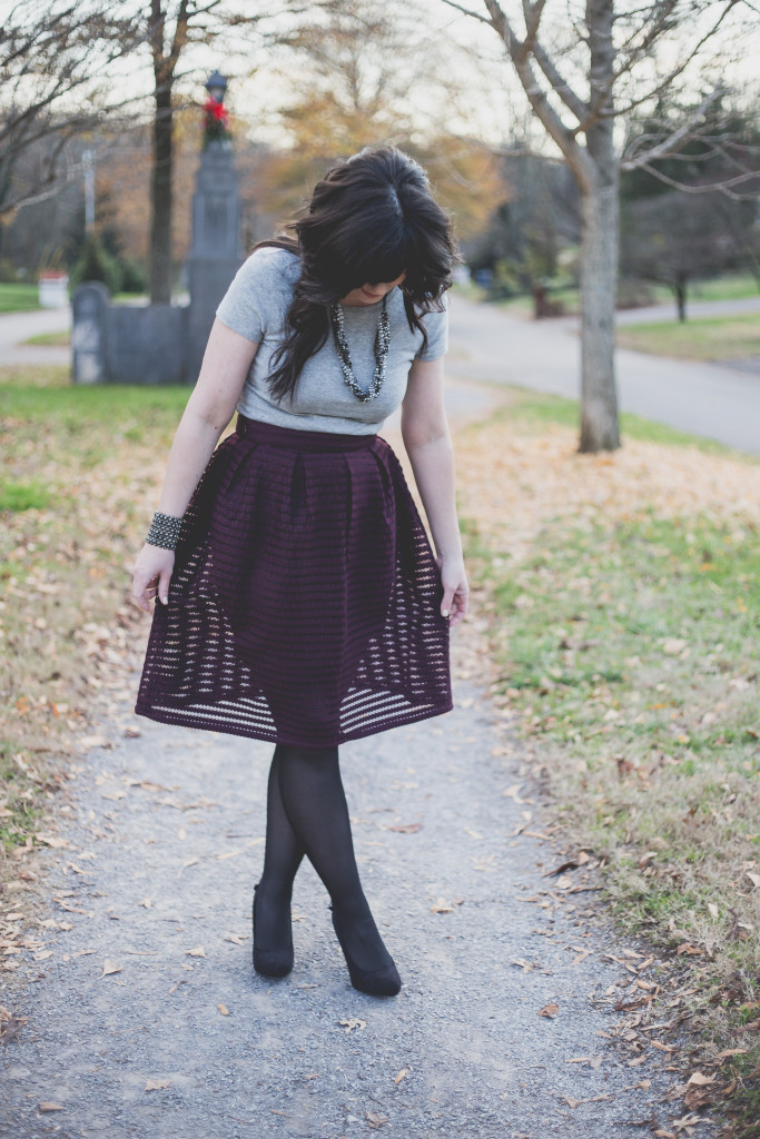 forever21, skirt, midi skirt, holiday dressing, how to dress for a christmas party, christmas party outfit, ootd, west town mall, knoxville fashion blogger, mauve skirt, long skirt, figure flattering skirt, how to dress for your figure, a-line skirt