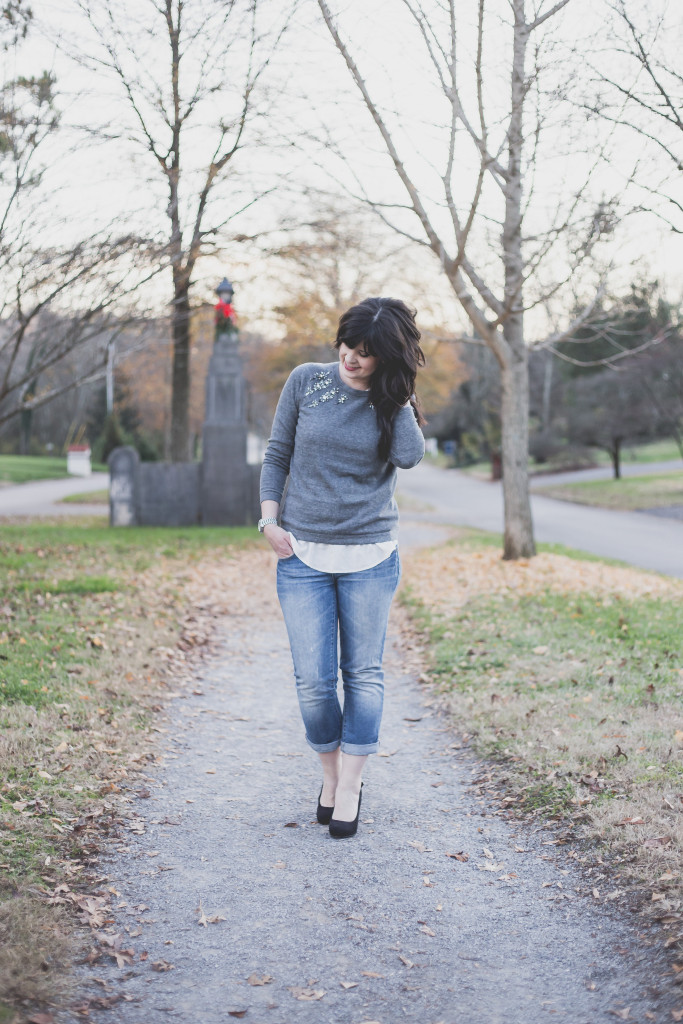 the loft, ann taylor loft, sparkle sweater, gray jeweled sweater, christmas party outfit, what to wear to a christmas party, knoxville fashion, knoxville fashion blogger, what to wear to a party, christmas sweater, christmas party outfit