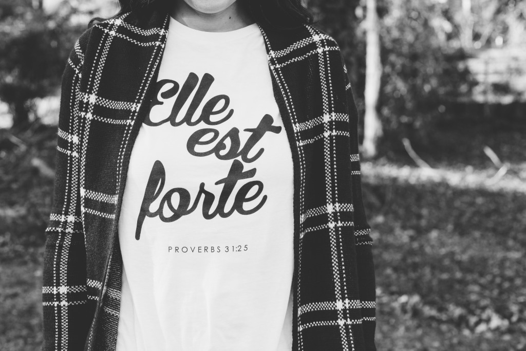 she is clothing, proverbs 31:25, proverbs 31:25 shirt, plaid sweater, black and white sweater, ootd, knoxville fashion, beauty blogger, knoxville fashion blogger, elizabeth ogle