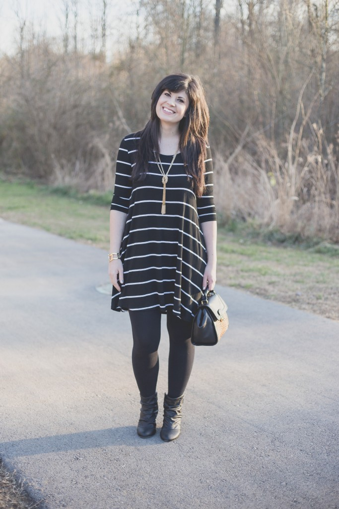 ootd, west town mall, rue21, how to style a striped dress multiple ways, winter weekend wear, knoxville fashion blogger, vera bradley, friday fashion
