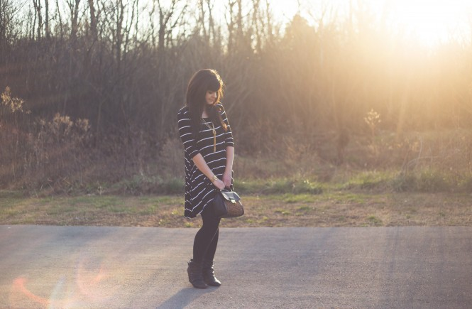 knoxville fashion blogger, ootd, west town mall, rue21, how to style a striped dress multiple ways, winter weekend wear, knoxville fashion blogger, vera bradley, friday fashion
