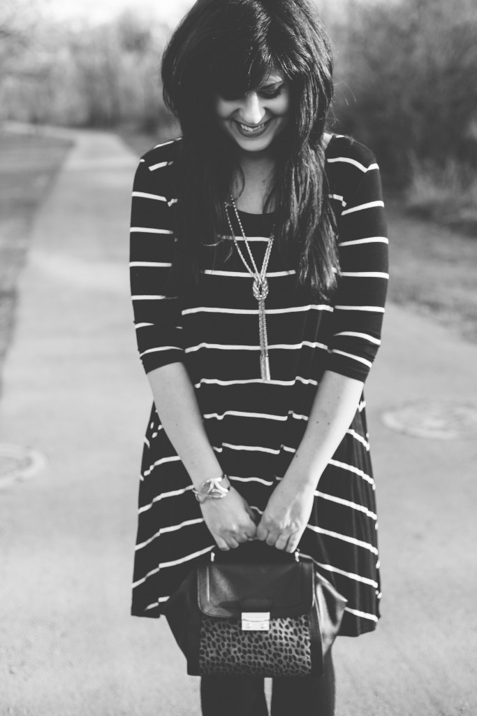 ootd, west town mall, rue21, how to style a striped dress multiple ways, winter weekend wear, knoxville fashion blogger, vera bradley, friday fashion, gold black and white, stripes, what to wear with stripes, elizabeth ogle, knoxville fashion blogger