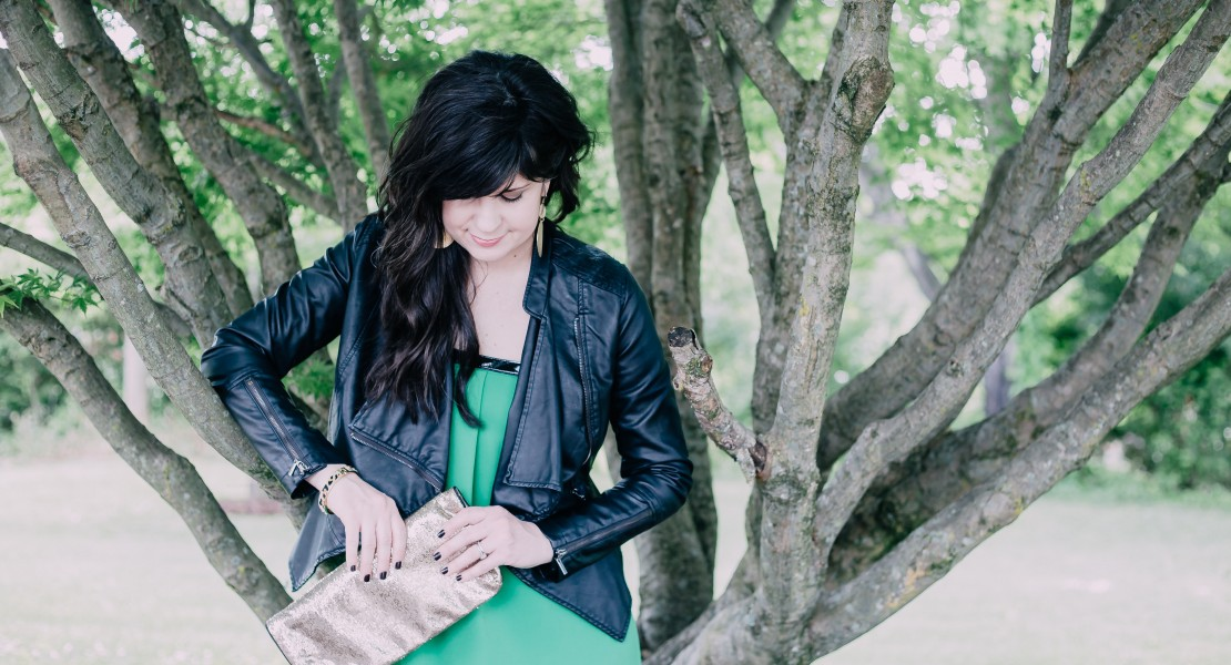 dress for a girls night out, green dress, leather jacket, ootd, spring dress, knoxville fashion blogger, knoxville beauty blogger, night out dress