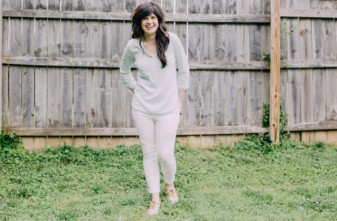white jeans, summer outift, ootd, knoxville fashion blogger, summer lights, mom life, west town mall, elizabeth ogle