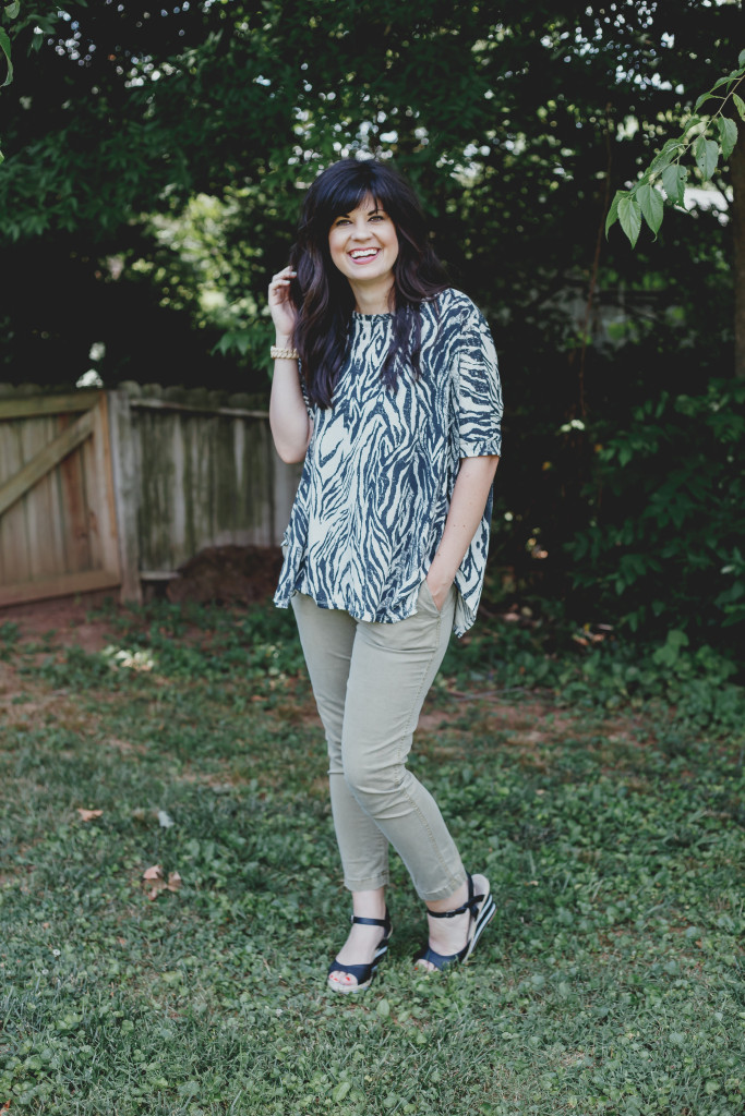 summer work outfit, ootd, summer ootd, zebra top, gap pants, old navy shoes, striped wedges, green pants, easy summer office outfit, knoxville fashion blogger, knoxville fashion blog, west town mall, knoxville fashion