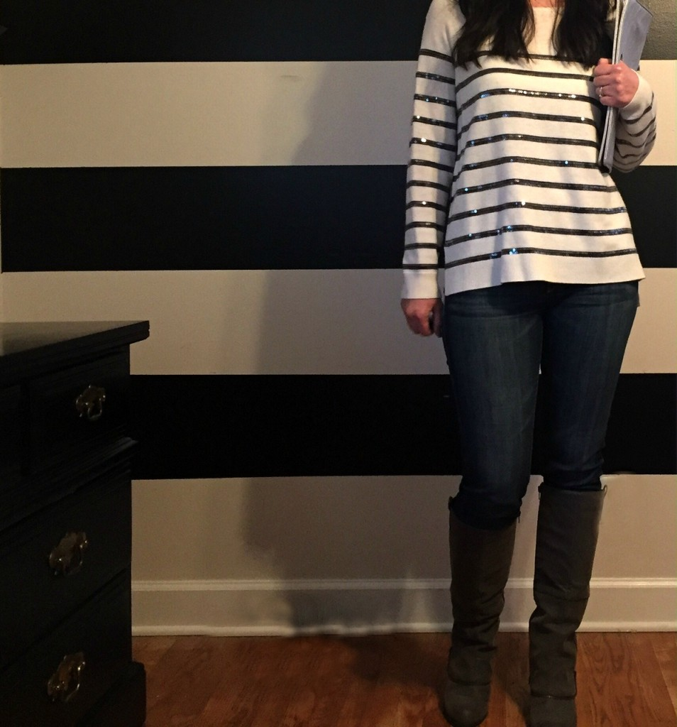 sparkle sweater, stripes and sparkles, sequin sweater, how to style a sequin sweater, boots, the loft, what to wear to a daytime christmas party, knoxville fashion, knoxville fashion blogger,