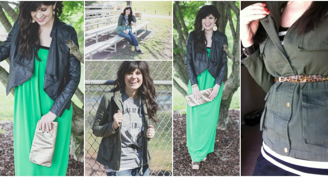 green, wearing green, what to wear on st. patricks day, green jacket, ballpark fashion, mom blog, knoxville fashion, mom fashion, mom blog, mom life, green outfit, outfit with green, how to wear green on st. patricks day