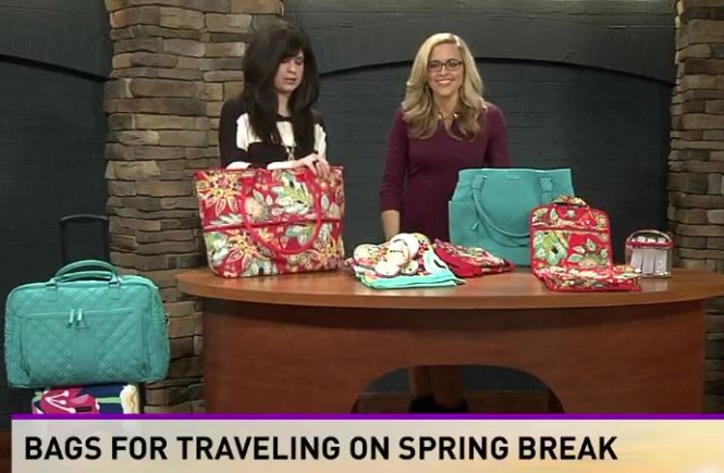 vera bradley bags, west town mall, knoxville fashion, west town mall style consultant, style consultant, travel bags, cute travel bags, spring break bags, vera bradley bags, rumba print, turquoise sea, pretty luggage, vera bradley luggage, wbir, 10 news this morning