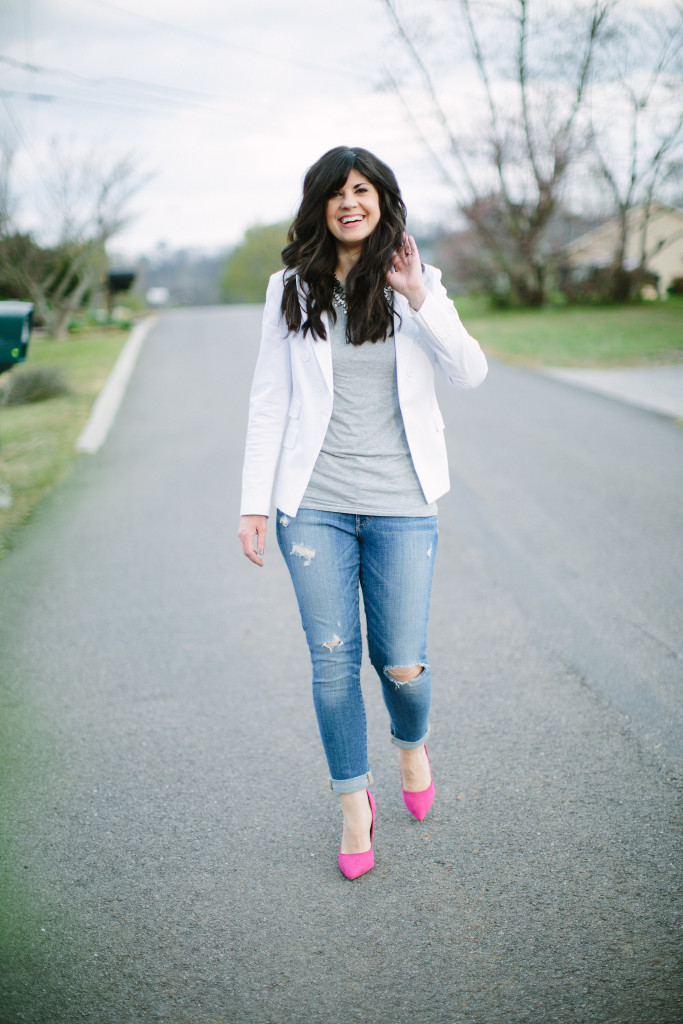 white blazer, how to style a white blazer, distressed jeans, pink heels, how to style a blazer and jeans, ootd, west town mall, knoxville fashion, what to wear with a white blazer, statement necklace and jeans, what to wear this weekend