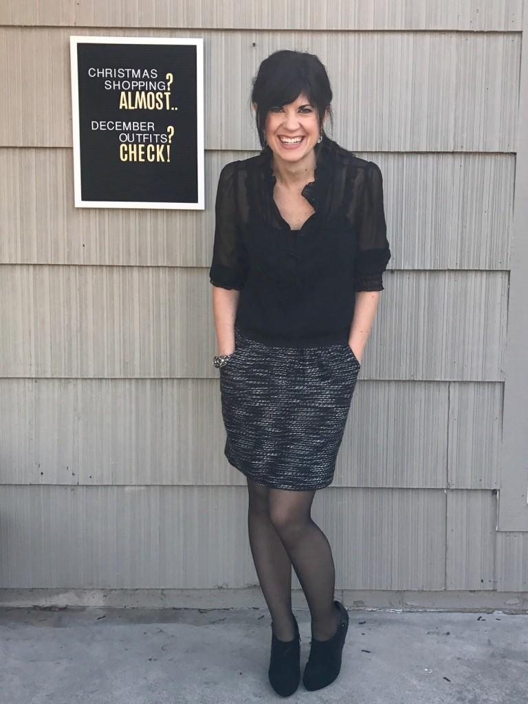 tweed skirt outfit, sheer black blouse, what to wear to christmas party, fashion blog, mom fashion blog, elizabeth ogle, knoxville blogger, knoxville fashion