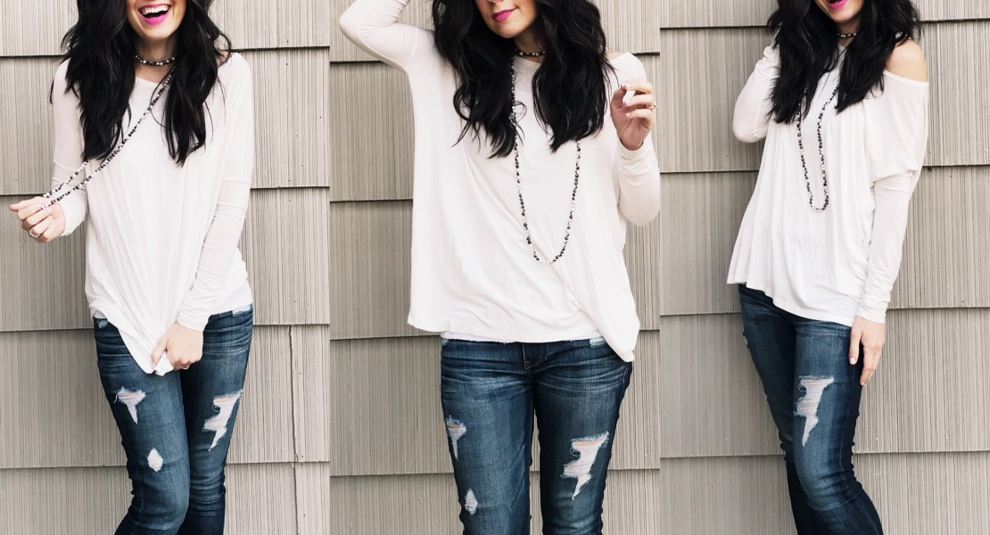 piko stop, style help, how to style a piko, fiore boutique, west town mall, mom style, mom style blog, mom fashion blog, how to wear a piko top different ways, how to style a piko top, what to wear with your piko top, how to accessorize a piko, accessorizing a piko top, elizabeth ogle, knoxville style blog, knoxville fashion blog