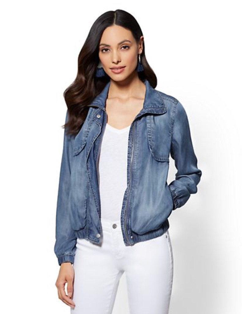 jackets, spring jackets, what jackets to buy for spring, spring fashion, spring style, knoxville spring style, mom style, spring style help, francesca's, west town mall, knoxville style, new york and co., jean jacket, jean bomber jacket